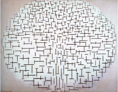 Piet Mondrian, Composition No. 10 in Black and White; Pier and Ocean (1915)