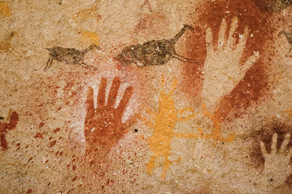Hands - cave painting from Argentina